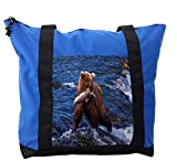 Lunarable Africa Shoulder Bag, Wild Bear in the Water Fish, Durable with Zipper