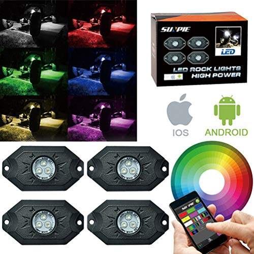 RGB LED Rock Light Kits with Phone App Control & Cell Phone Control & Timing & Music Mode & Flashing & Automatic Control & Color Grad Multicolor Neon Lights Under Off Road Truck SUV ATV Motorcycle