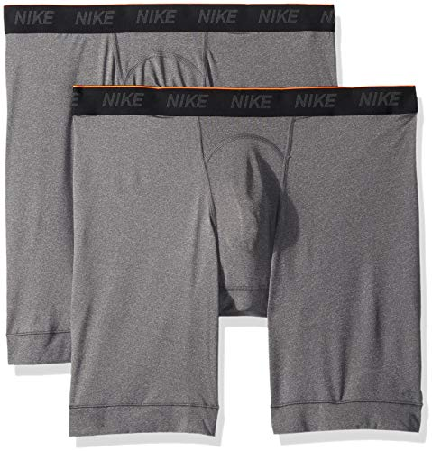 NIKE Men's Long Boxer Briefs (2 Pack), Anthracite/Anthracite/White, X-Large