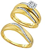 Mens Womens Square Halo Diamond Engagement Ring & Wedding Bands Set 10k Yellow Gold His Hers Set 1/5 ctw