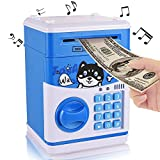 Yoego New Kids Cartoon Electronic Money Bank, Security Piggy Bank Mini ATM Password Coins Money Savings Box Toys Smart Voice & Music Prompt,Code Lock for Children/Toy Gifts Birthday Gift (blue dog)