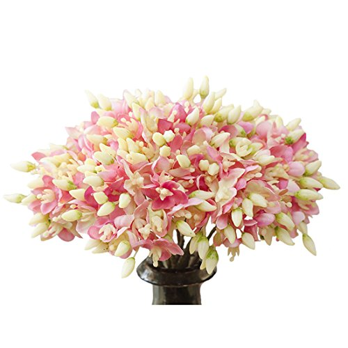 Calcifer 10 Pcs Sherna Hydrangea Flowers Artificial Flowers for Home Garden Wedding Bohemia Hat Decor (Pink)