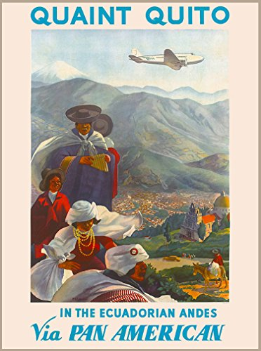 A SLICE IN TIME Quaint Quito Ecuador Ecuadorian Andes via Pan American Vintage Airline South America Travel Advertisement Art Wall Decor Collectible Poster Print. Measures 10 x 13.5 inches