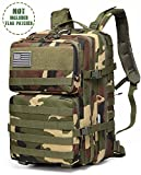 EnergeticSky Multifunction Military Tactical Backpack,Large Army Assault Pack Molle Bug Out Bag Backpacks Rucksack Daypack for Camping Hiking and Trekking 45L. (Camouflage)