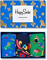 Happy Socks, Colorful Premium Cotton Gift Box 3 Pack Socks for Men and Women, Swedish, 9-11