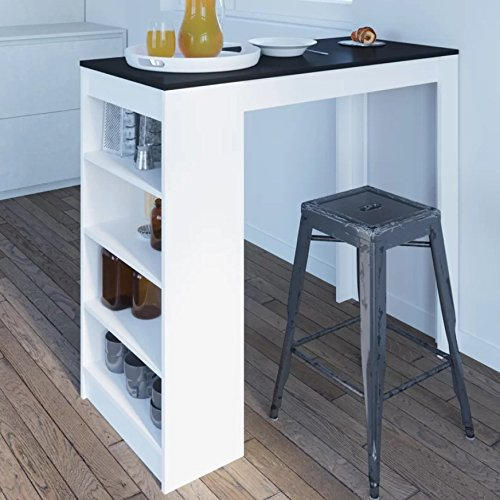 Kitchen Breakfast Table Coffee Dining Furniture White Oak Black Concrete Modern Contemporary Small Storage Drinks Glasses Rack Shelves High Tall Rectangular Large Wall Home Bar 4 Seater Wooden Stand **STOOLS ARE NOT INCLUDED** (White/Black) Vintage Home