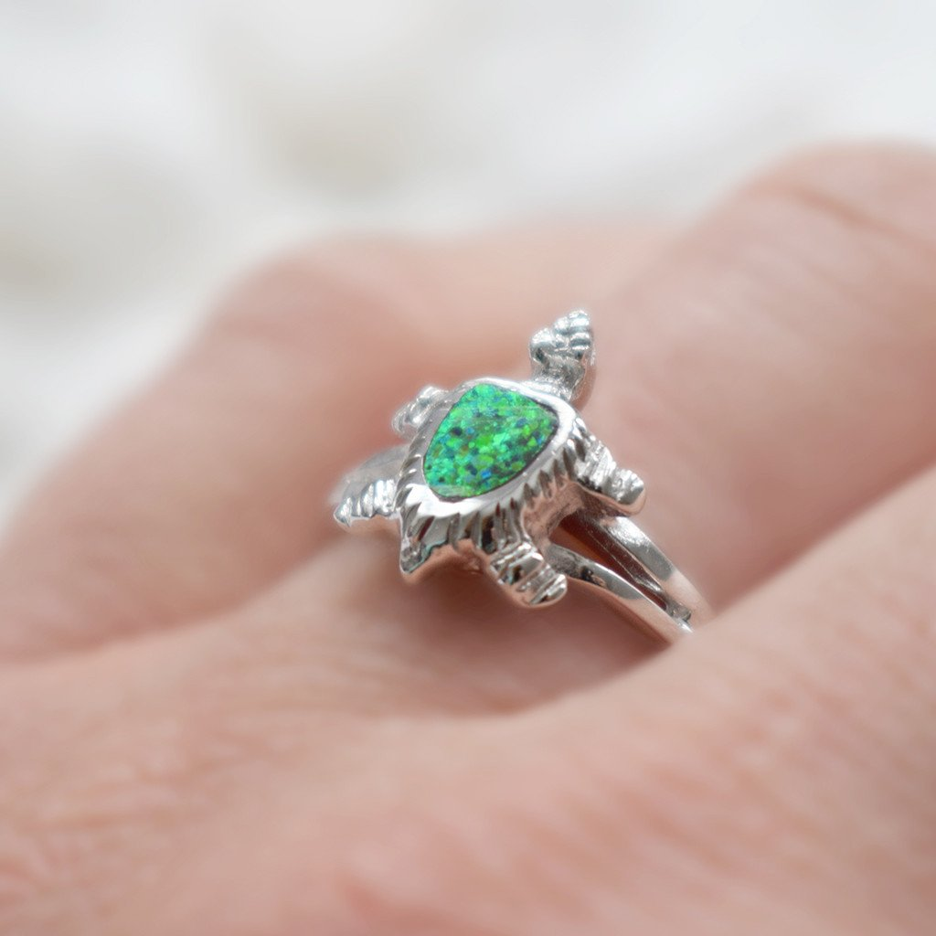 925 Sterling Silver Turtle Ring in Green for Girls and Women , Small ...