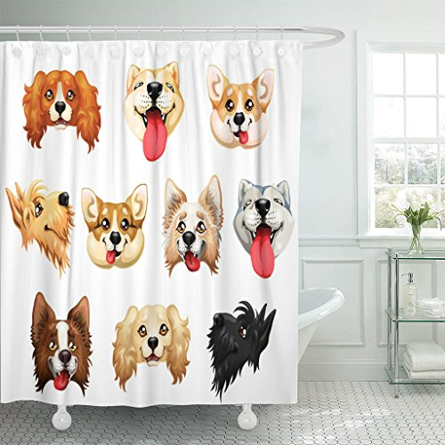 - Emvency Shower Curtain The Darling Dogs Breed Cocker Spaniel Border Collie Welsh Corgi Scottish Terrier Akita Inu Color Red Waterproof Polyester Fabric 60 x 72 inches Set with Hooks