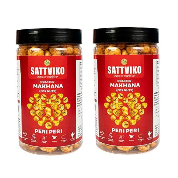 Sattviko Peri Peri Roasted Makhana Snack 2 Jars, 70 g Each, 140 g   Piri Piri Makhana   Healthy Snack