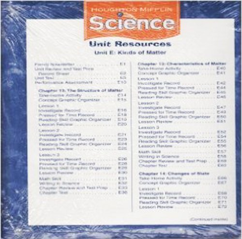 Houghton Mifflin Science Unit Resource Folders