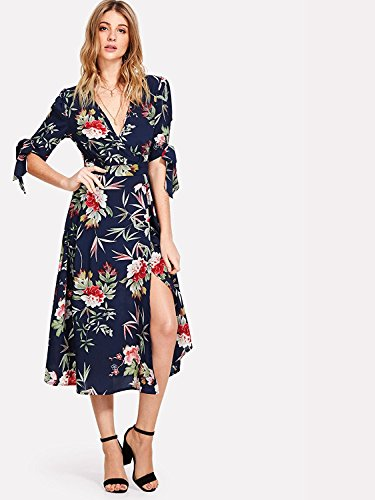 Milumia Women's Boho Deep V Neck Floral Chiffon Wrap Split Long Maxi Dress Navy-1 Large