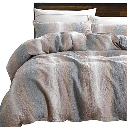 NTBAY 3 Pieces Duvet Cover Set 100% French Linen with Hidden