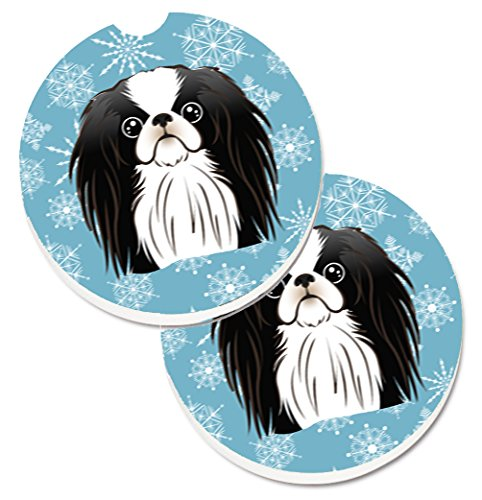 Caroline's Treasures Snowflake Japanese Chin Set of 2 Cup Holder Car Coasters BB1664CARC, 2.56, Multicolor by Caroline's Treasures