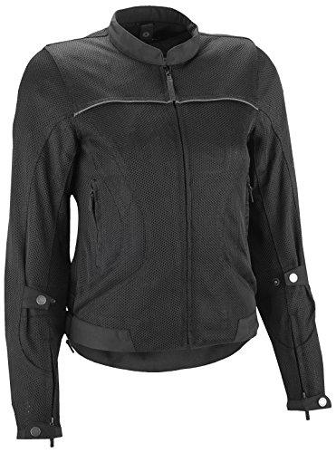 - Highway 21 Aira Mesh Women's Motorcycle Jacket W/CE Armors/Reflective Piping/Water Resistant Liner Black Size Large