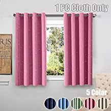 WINYY Star Printed Modern Simplicity Blackout Short Curtains Grommet Top Kids Bedroom Living Room DIY Shade Drape Hot Stamped Sheer Voile Curtain Color Pink,1 Panel W39 x H47 inch