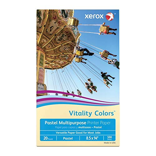 Xerox Vitality Colors Multipurpose Printer Paper, Legal Paper Size, 20 Lb, 30% Recycled, Ivory, Ream of 500 Sheets