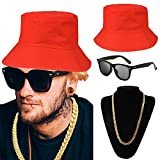 80s/90s Hip Hop Costume Kit - Cotton Bucket Hat,Gold Chain Beads,Oversized Rectangular Hip Hop Nerdy Lens Sunglasses (OneSize, Red)