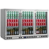 KingsBottle 260 Can 3-Door Under Counter Beverage Cooler with Heating Glass, Stainless Steel
