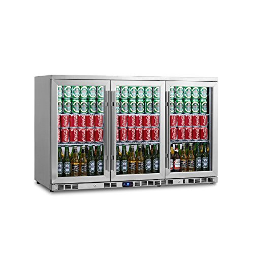 Beverage Cooler, KingsBottle 3 Door 260 Cans Under Counter Beverage Fridge - Large Capacity Drinks Cooler for Bars, Restaurants – Stainless Steel Refrigerators for Shop