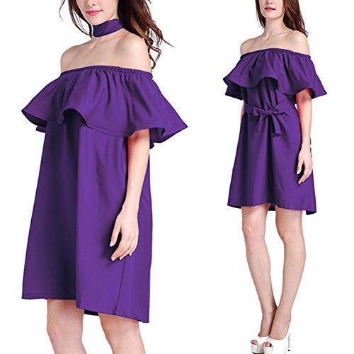 Femmes Cutecc Mode De L'épaule Volantée Robe Courte Avec Ceinture Violette
