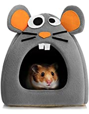 Hollypet Warm Small Pet Animals Bed Dutch Pig Hamster Cotton Nest Hedgehog Rat Chinchilla Guinea Habitat Mini House, Gray Mouse