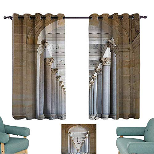 DILITECK Exquisite Curtain Apartment Decor Collection Classical Colonnade in Karlovy Vary Czech Republic Ancient Civilization Monument Print Thermal Insulated Tie Up Curtain W72 xL72 ()