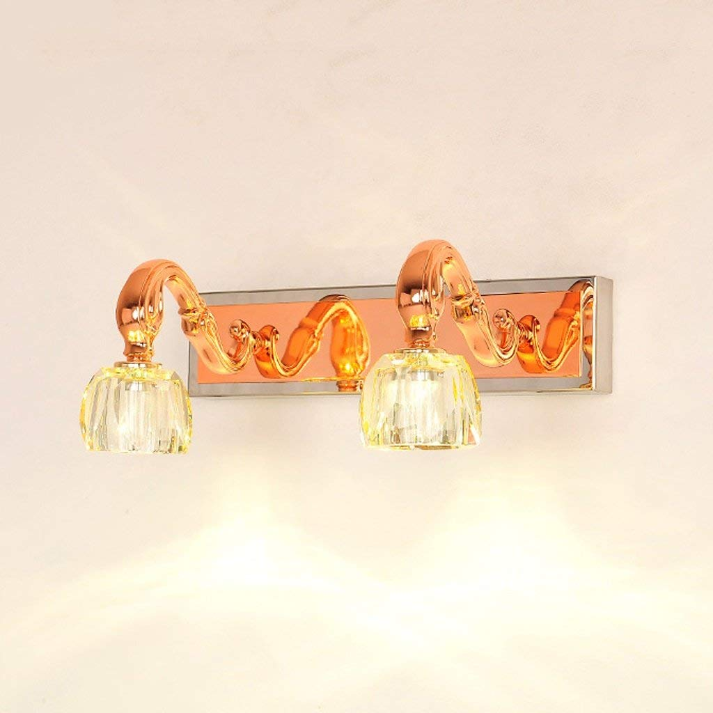 FXING Die erntezeit Kristallspiegel Front LED Badezimmer Spiegel Licht Schminktisch Spiegel (Rosa Gold) (Größe  34 cm)
