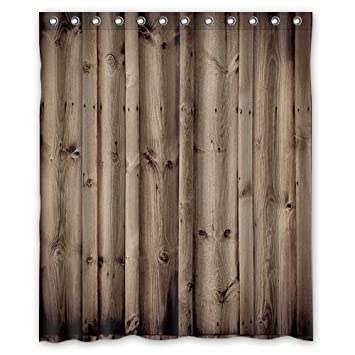 Wood Shower Curtain Rod Twinkle Vintage Rustic Knotty Bathroom