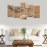 Children's room custom mural Pebbles Feet Sand Mood Zen canvas print bedroom or living room features oil painting 5 pieces, ready for framing (No Frame).