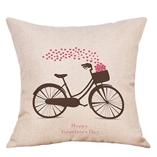 Napoo Valentine's Day Fashion Linen Cotton Throw Pillow Cases Cafe Sofa Cushion Cover Home Decor (B)