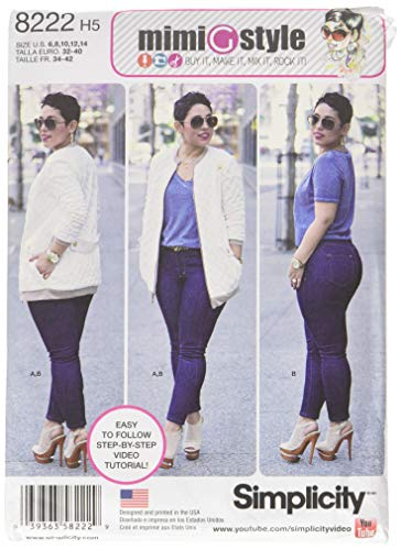 - Simplicity Pattern 8222 H5 Mimi G Bomber Jacket and Stretch Skinny Jeans, Size 6-8-10-12-14