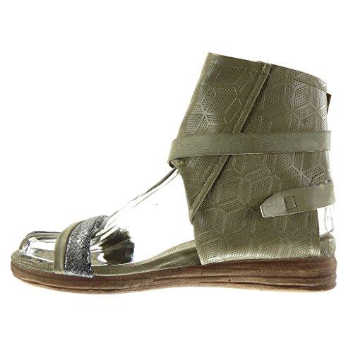 Hebilla Zapatillas Moda Tal Perforado Sandalias Botines Tanga Abierto Mujer Angkorly FqxR8nTq