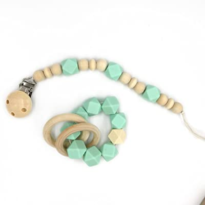 Amyster Wooden Baby Teether Ring Wood Pacifier Clip Organic Wood Montessori Toy Silicone Beads Teether Infant Teether BPA Free : Baby