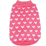 PanDaDa Puppy Dog Little Heart Pattern Knit Sweater Coat Jumper Jacket X-Small