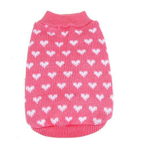 PanDaDa Puppy Dog Little Heart Pattern Knit Sweater Coat Jumper Jacket Small