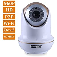 EWETON P2P 1.3MP Onvif IP Camera 1280x960P(1280TVL) Smart Home WiFi Wireless IP Security Camera System Support 433MHZ GFSK Protocol 50feet IR CUT Night Vision Motion Detection Email Alarm-W11A