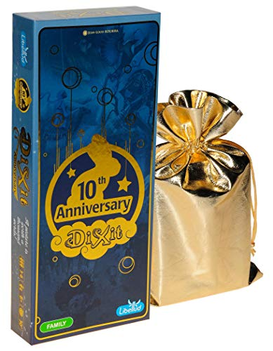 ASMD Dixit 10th Anniversary Expansion for Dixit Game || Bonus Gold Metallic Cloth Drawstring Storage Pouch || Bundled Items