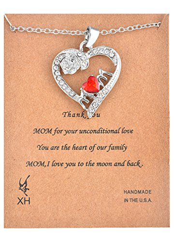 Cubic Zirconia Open Heart Pendant (MJartoria Red Cubic Zirconia Mom Rose White Rhinestone Deco Open Heart Pendant)