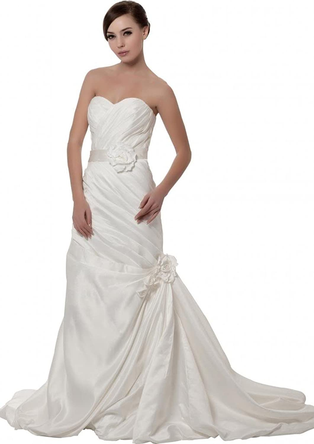 GEORGE BRIDE Elegant Strapless Pleated Satin Wedding Dress