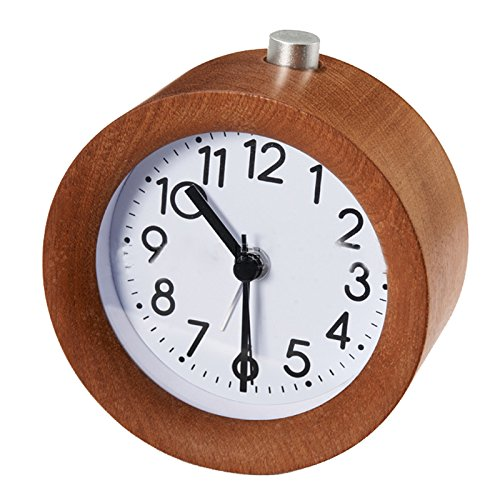SODIAL Classic Small Round Silent table Solid Wood Round pointer Alarm Clock Light Wooden Design Dark Wood R