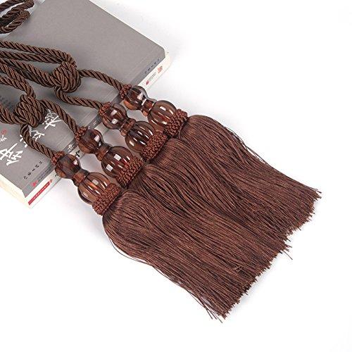 LianLe 2PCS Curtain Tieback Tassel Binding Rope Curtain Holdbacks Buckle European Style ,Dark Brown