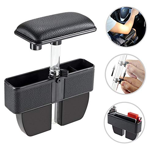 Car Armrest - LILER Car Elbow Support Pads and Seat Pockets, Car Console Side Organizer Seat Gap Filler Catch Caddy, Car Central Adjustable Height Comfort Armrest Rest Pads (Black)