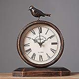 JIAHE115 Jiale European Metal Table Clock - Home Retro Silent Clock Desktop Desk Clock (9.05 × 11.4 inches)