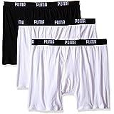 PUMA Men's 3 Pack 100% Cotton Boxer Brief, White Traditional, Medium