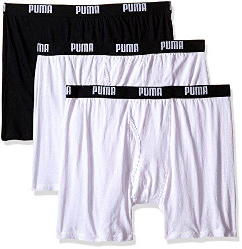 Traditional Brief - PUMA Men's 3 Pack 100% Cotton Boxer Brief, White Traditional, Medium