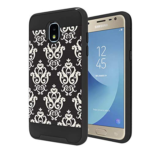 Moriko Case Compatible with Galaxy J3 TOP [Hybrid Slim Drop Protection Shockproof Heavy Duty Protector Black Case Cover] for Samsung J3 (2018) J3 Orbit J3 Achieve - (Black Damask)