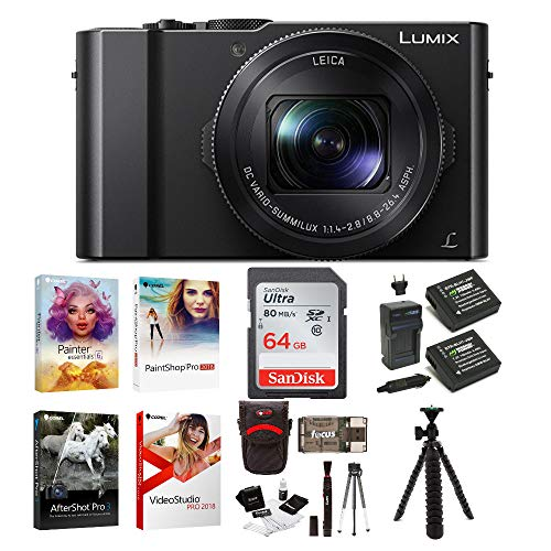 Panasonic LUMIX LX10 4K Digital Camera with 24-72mm f/1.4-2.8 Lens (Black) with 64GB Memory Card, Photo Software Kit, Battery/Charger Pack, 12