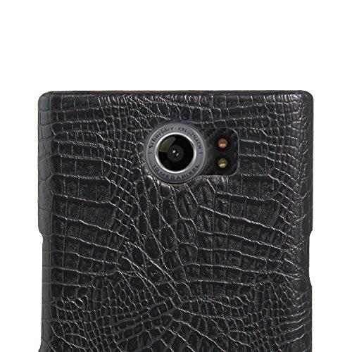YHUISEN BlackBerry Priv Caso, Patrón de piel de cocodrilo clásico de lujo [Ultra Slim] Cuero de PU Anti-rasca la cubierta dura de la caja protectora de la PC para BlackBerry PRIV ( Color : Black ) Black