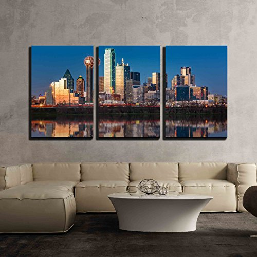 Dallas Skyline Reflected in Trinity River at Sunset x3 Panels