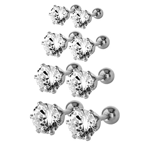 JewelrieShop Assorted Boys Girls Stainless Steel Fake Tiny AAA CZ Fronts Barbell Backs Cartilage Tragus Screw Stud (Fake Gold Fronts)